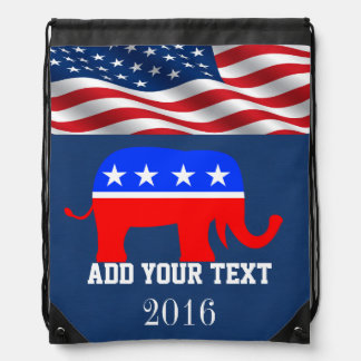 Patriotic / Elections American Flag Back Pack Drawstring Backpack