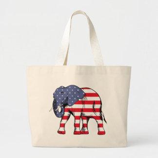 Patriotic Elephant Large Tote Bag