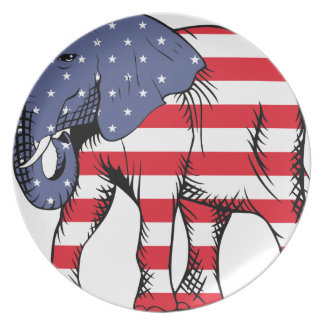 Patriotic Elephant Plate