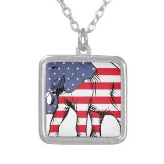 Patriotic Elephant Silver Plated Necklace