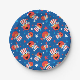 Patriotic Elmo Pattern 7 Inch Paper Plate