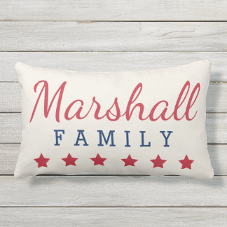 Patriotic Family Monogram with Stars Lumbar Pillow