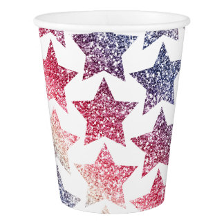 Patriotic Faux Glitter Stars Paper Cup
