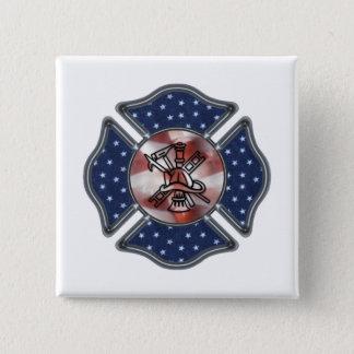 Patriotic Firefighter Maltese 2 Inch Square Button