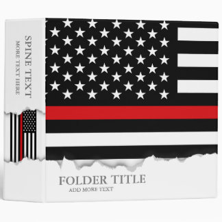 Patriotic Firefighter Style American Flag 3 Ring Binder