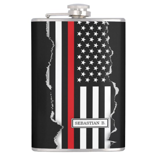 Patriotic Firefighter Style American Flag Hip Flask