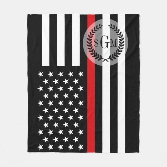 Patriotic Firefighter Thin Red Line Flag Monogram Fleece Blanket