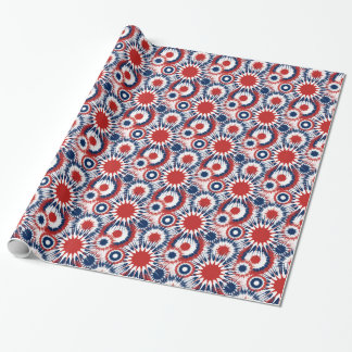 Patriotic Fireworks Bursts in Red White and Blue Wrapping Paper