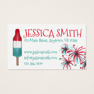 Patriotic Fireworks Rocket Pop Popsicle USA July 4 Business Card