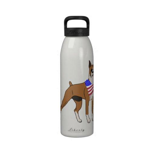 Patriotic Flag Bandana Boxer Drinking Bottle