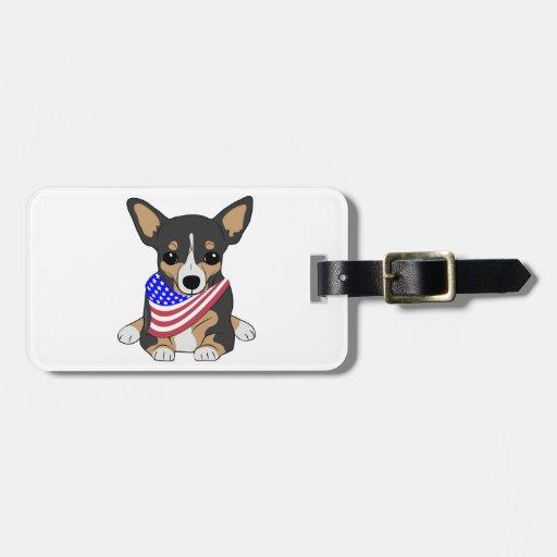 Patriotic Flag Bandana Chihuahua 2 Tags For Bags