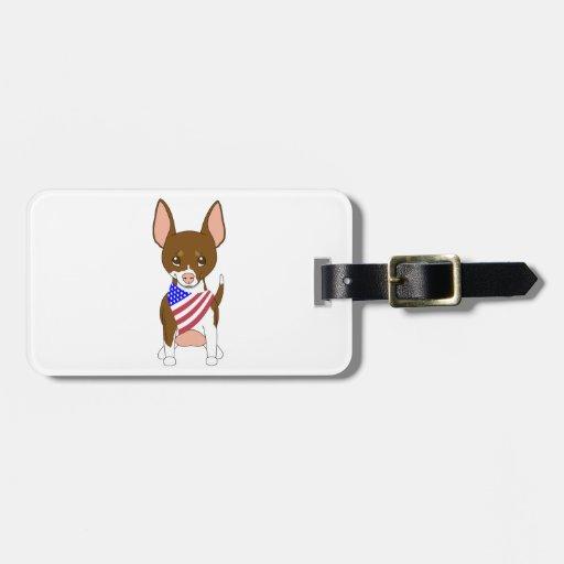 Patriotic Flag Bandana Chihuahua 6 Tags For Luggage