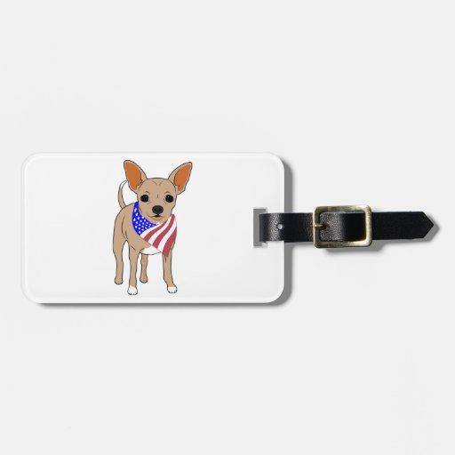 Patriotic Flag Bandana Chihuahua Travel Bag Tag