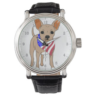 Patriotic Flag Bandana Chihuahua Wrist Watch
