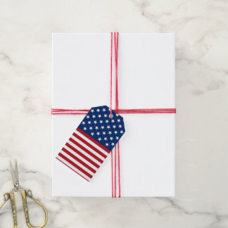 Patriotic Flag pattern July Fourth gift tag