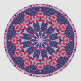 Patriotic Flag Quilt Mandala Art Kaleidoscope Round Sticker