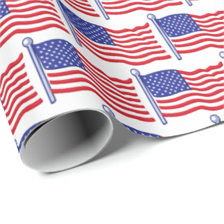 Patriotic flag tiled July Fourth wrapping paper