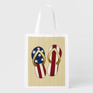 Patriotic Flip Flops Holiday tote bag Grocery Bag
