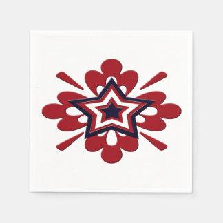 Patriotic Floral Star Paper Napkins