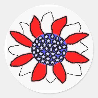 Patriotic Flower Round Sticker