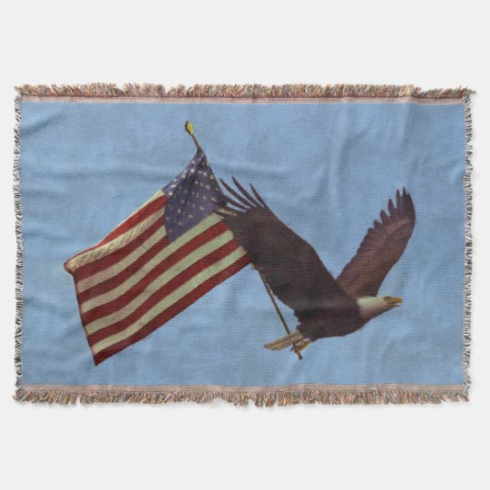 Patriotic Flying Bald Eagle & US Flag Throw Blanket