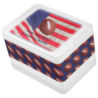 Patriotic Football Igloo Cooler, American Flag