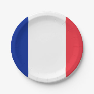 Patriotic French Flag 7 Inch Paper Plate