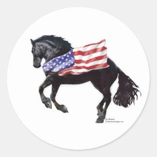 Patriotic Friesian Horse Flag Round Sticker