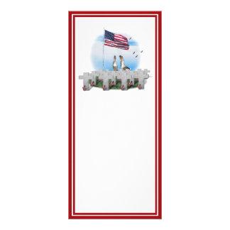 Patriotic Geese Saluting The American Flag Custom Rack Card