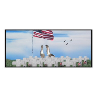 Patriotic Geese Saluting The American Flag Personalized Rack Card