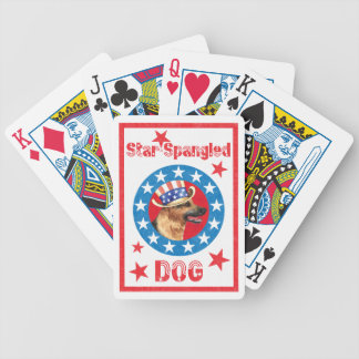 Patriotic German Shepherd Bicycle Playing Cards
