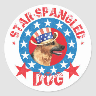 Patriotic German Shepherd Classic Round Sticker