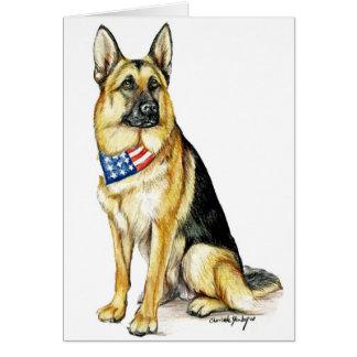 Patriotic German Shepherd Dog Art Note Card