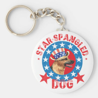 Patriotic German Shepherd Keychain