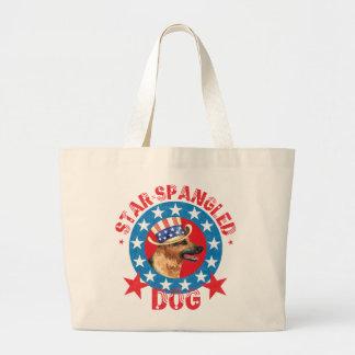 Patriotic German Shepherd Large Tote Bag