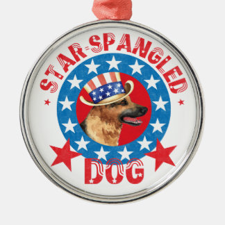 Patriotic German Shepherd Metal Ornament