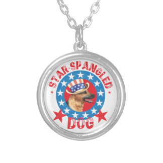 Patriotic German Shepherd Silver Plated Necklace