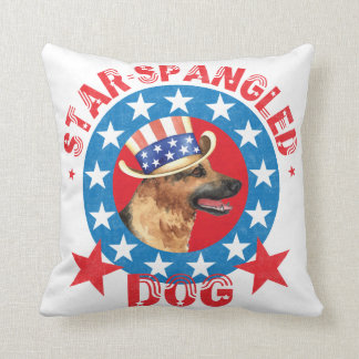 Patriotic German Shepherd Throw Pillow