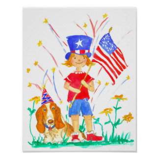 Patriotic Girl Hound Dog Independence Day Poster