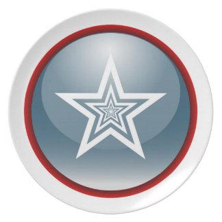Patriotic Glossy Star Plate