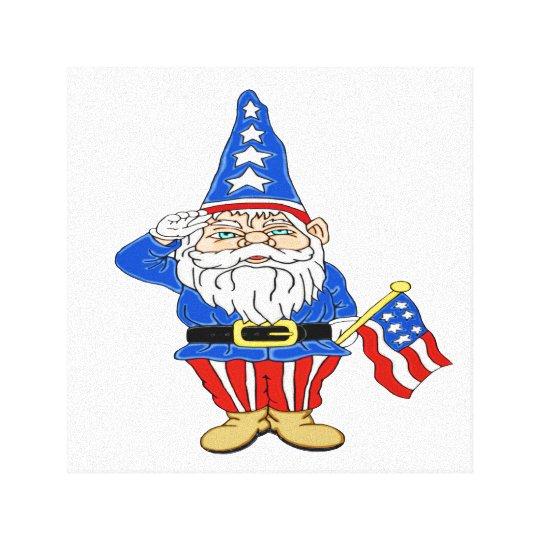 Patriotic Gnome Canvas Print