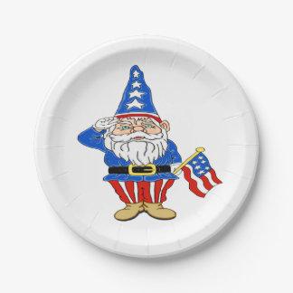 Patriotic Gnome Paper Plate