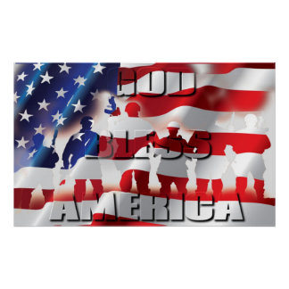 Patriotic God Bless America and the Soldiers Poster