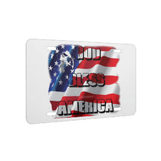 Patriotic God Bless America Eagle and Flag License Plate