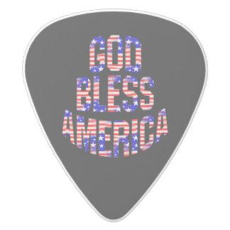 Patriotic God Bless America Guitar Pick White Delrin Guitar Pick