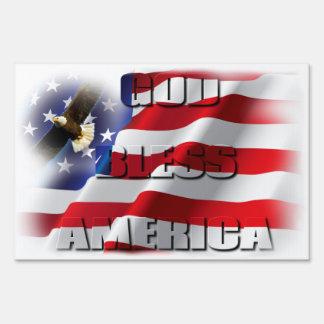 Patriotic God Bless America Soaring Eagle USA flag