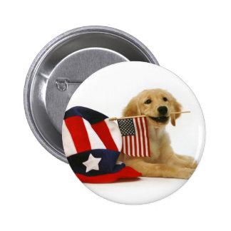 Patriotic Golden Puppy 2 Inch Round Button