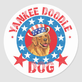 Patriotic Golden Retriever Classic Round Sticker