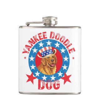 Patriotic Golden Retriever Hip Flask