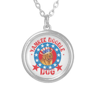 Patriotic Golden Retriever Silver Plated Necklace